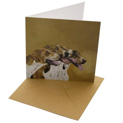 Re-wrapped: ECO Friendly Birthday Wrapping Paper Oil Foxhounds Greetings Card by Sophie Botsford made from 100% Unbleached Recycled Card