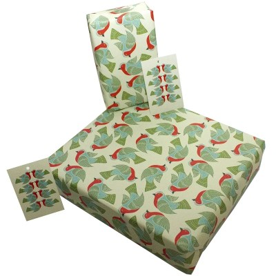 Re-wrapped: ECO Friendly Xmas Wrapping Paper Christmas Folk Robins by Kate Heiss made from 100% Unbleached Recycled Paper