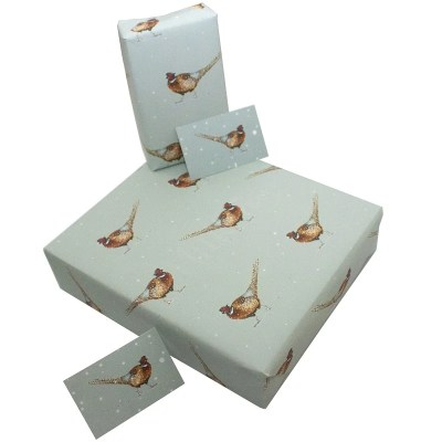 Re-wrapped: ECO Friendly Xmas Wrapping Paper Christmas Pheasants by Sophie Botsford made from 100% Unbleached Recycled Paper