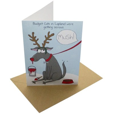 Re-wrapped: ECO Friendly Xmas Wrapping Paper Christmas Budget Cuts Greetings Card by Rosie Parkinson made from 100% Unbleached Recycled Card