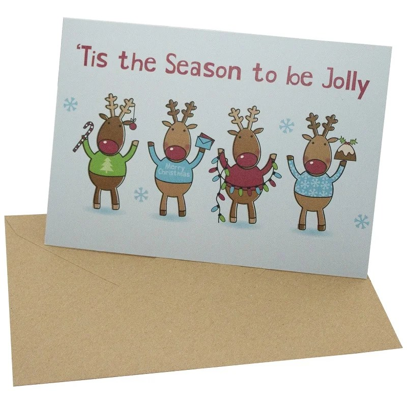 Re-wrapped: ECO Friendly Xmas Wrapping Paper Christmas Jolly Reindeer Greetings Card by Rosie Parkinson made from 100% Unbleached Recycled Card