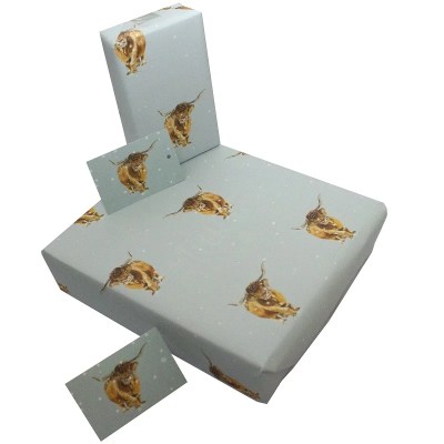 Re-wrapped: ECO Friendly Xmas Wrapping Paper Christmas Highland Cows by Sophie Botsford made from 100% Unbleached Recycled Paper