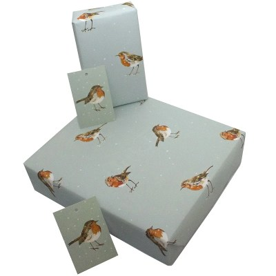 Re-wrapped: ECO Friendly Xmas Wrapping Paper Christmas Robins by Sophie Botsford made from 100% Unbleached Recycled Paper