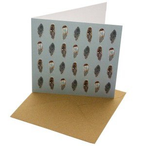 Re-wrapped: ECO Friendly Birthday Wrapping Paper Feathers Greetings Card by Sophie Botsford made from 100% Unbleached Recycled Card