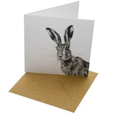 Re-wrapped: ECO Friendly Birthday Wrapping Paper Pen Hare Greetings Card by Sophie Botsford made from 100% Unbleached Recycled Card