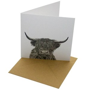 Re-wrapped: ECO Friendly Birthday Wrapping Paper Pen Highland Cow Greetings Card by Sophie Botsford made from 100% Unbleached Recycled Card