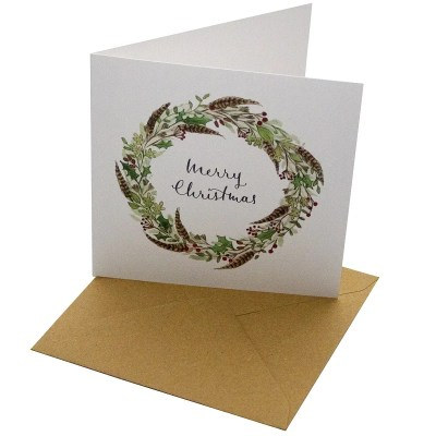 Re-wrapped: ECO Friendly Xmas Wrapping Paper Christmas Feather Wreath Greetings Card by Sophie Botsford made from 100% Unbleached Recycled Card