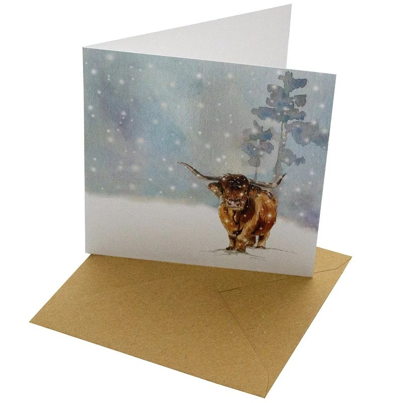 Re-wrapped: ECO Friendly Xmas Wrapping Paper Christmas Highland Cow Greetings Card by Sophie Botsford made from 100% Unbleached Recycled Card
