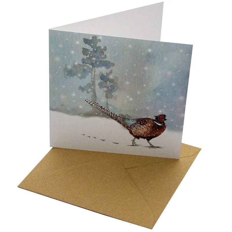 Re-wrapped: ECO Friendly Xmas Wrapping Paper Christmas Pheasant Greetings Card by Sophie Botsford made from 100% Unbleached Recycled Card