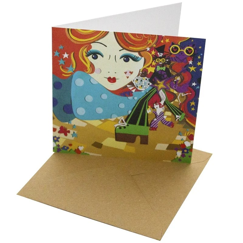 Re-wrapped: ECO Friendly Birthday Wrapping Paper Boogie Wonderland Greetings Card by Vicky Scott made from 100% Unbleached Recycled Card