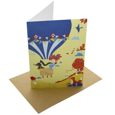 Re-wrapped: ECO Friendly Birthday Wrapping Paper Up and Away Greetings Card by Vicky Scott made from 100% Unbleached Recycled Card
