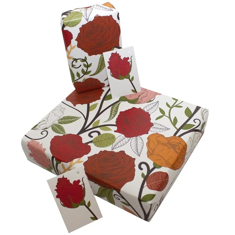 Re-wrapped: ECO Friendly Wrapping Paper Red Rosa by Rosie Parkinson made from 100% Unbleached Recycled Paper