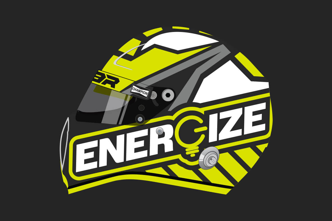 Side view of the React104 designed ENERGIZE helmet.