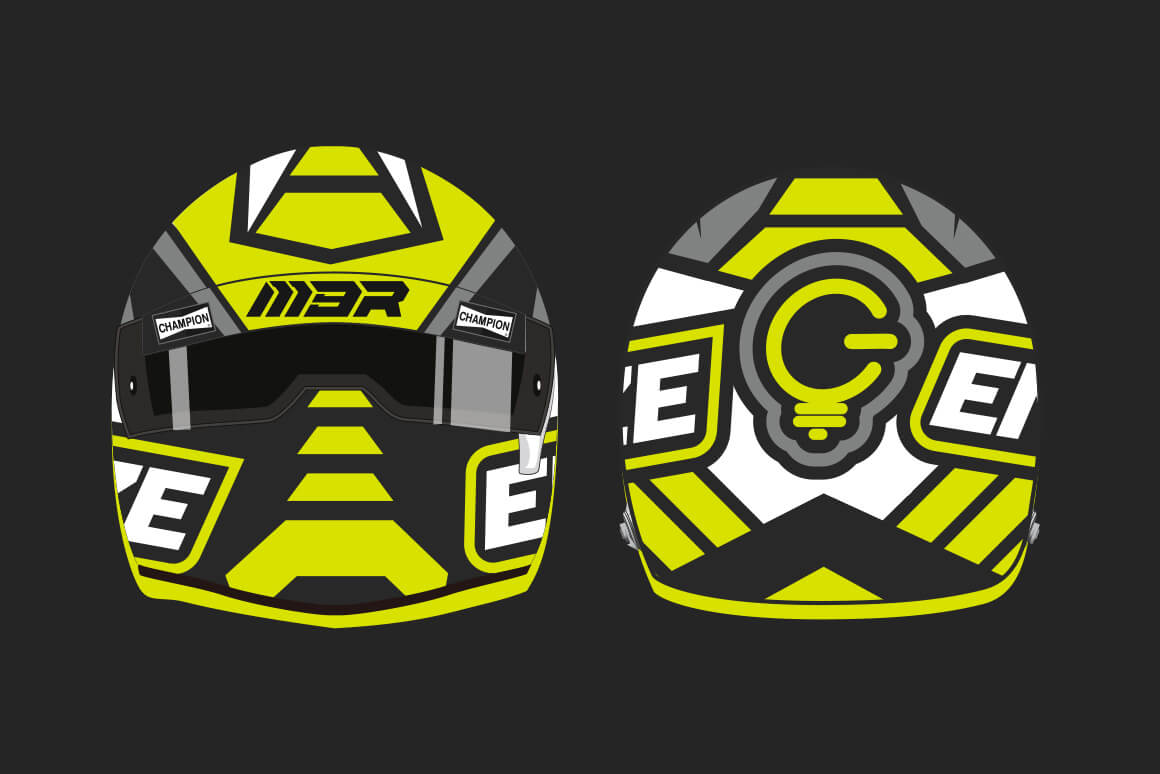 Front and rear view of the React104 designed ENERGIZE helmet.