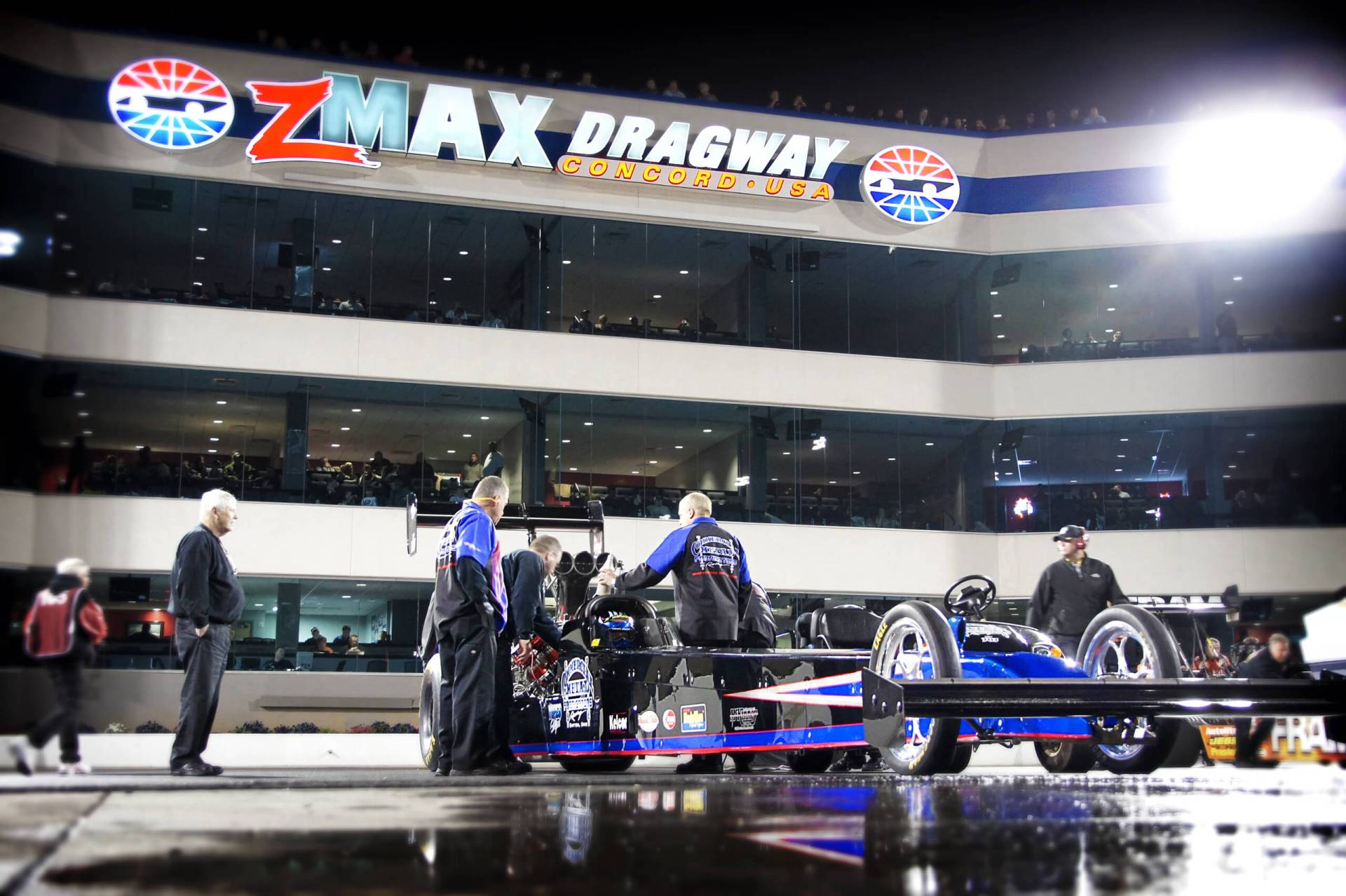Pat Dakin, 2019 International Drag Racing Hall of Fame inductee, prepares for a pass under the lights at ZMAX Dragway.