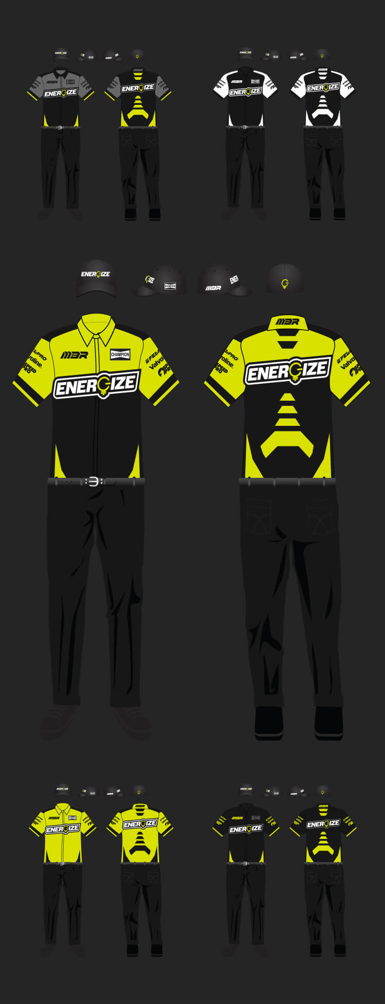 React104 concepted multiple options for the ENERGIZE uniforms.