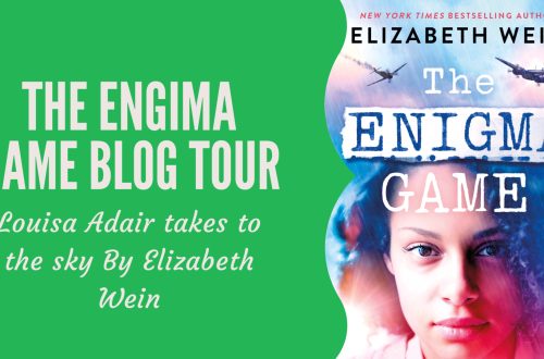 The cover for The Enigma Game by Elizabeth Wein with blog title 'The Enigma Game Blog Tour Louisa Adair takes to the sky by Elizabeth Wein