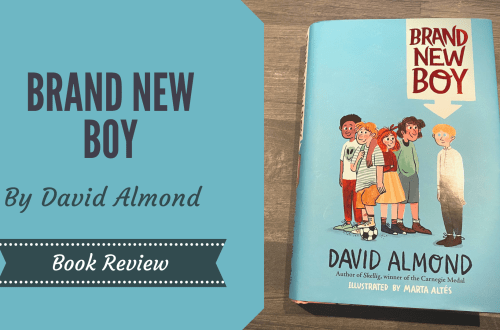Brand New Boy by David Almond on a wooden background with blog box overlay saying brand new boy by David Almond, book review.