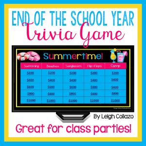 cover image of the End of the School Year Trivia Game. Shows game board and categories.