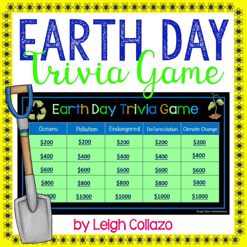cover includes title, small shovel, and creenshot of Earth Day Trivia Game