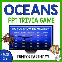 PowerPoint trivia game about the world's oceans for Grades 3-6. Game board features 25 questions about conservation, ocean animals, and more. Fun for Earth Day!