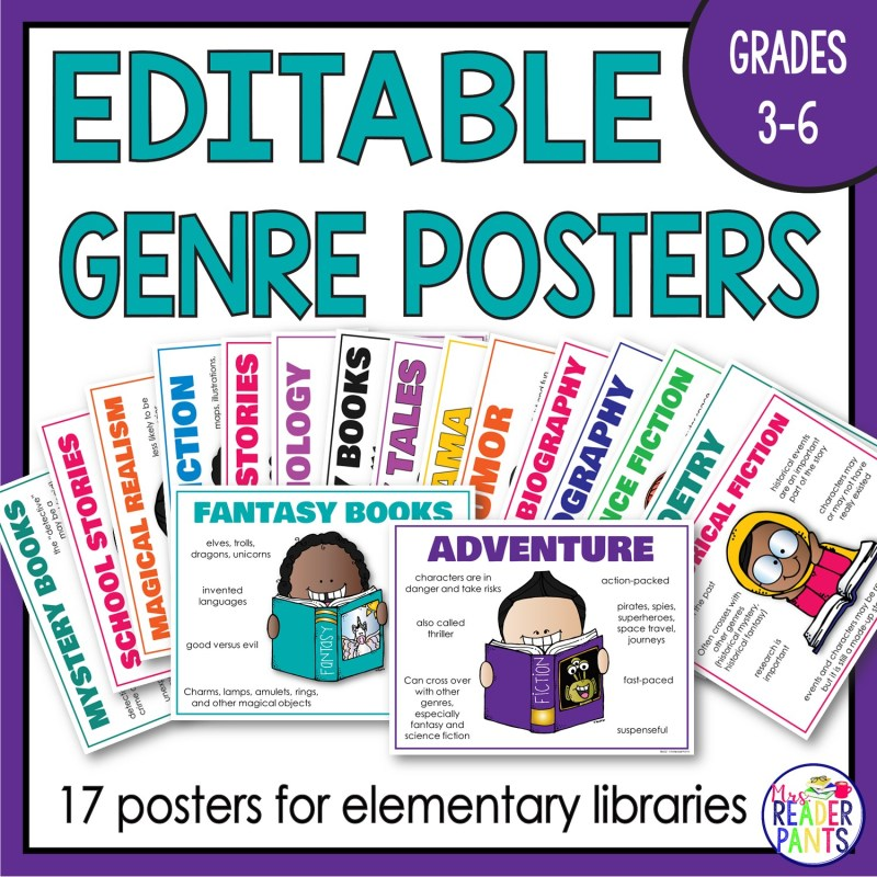 This is a set of 17 editable Library Genre Posters.