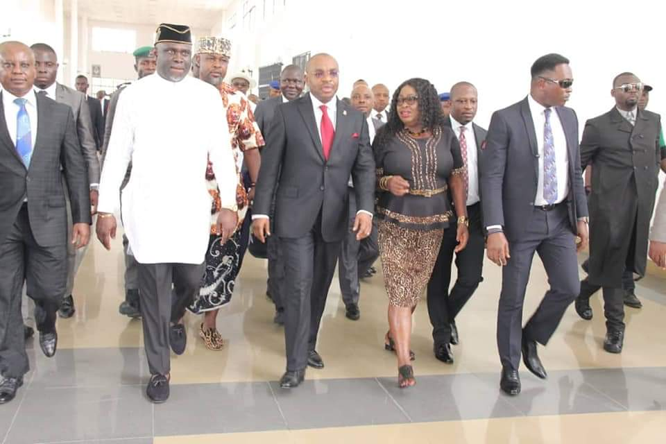 AKHA Principal officers and members ushering Governor Udom Emmanuel into Assembly for presentation of 2020 budget estimate