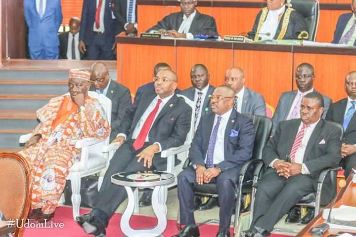 2nd from L- Governor Udom Emmanuel awaiting presentation of 2020 budget estimate on the floor of AKHA