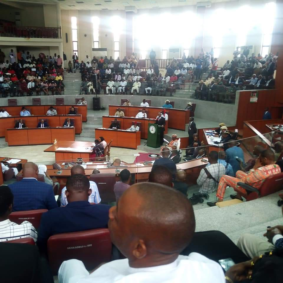 A cross section of AkHA Chambers during presentation of 2020 budget estimate by Governor Udom Emmanuel