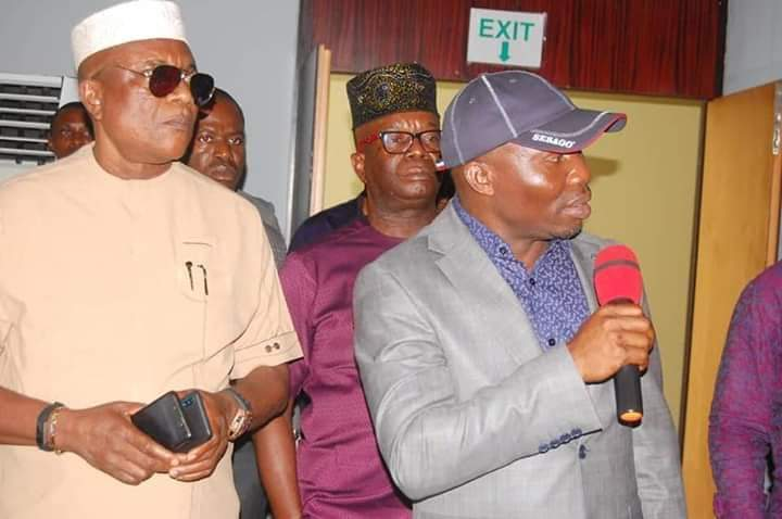 2nd-L Chairman of the Committee addressing Management Staff of Ibom Hotels and Golf Resort