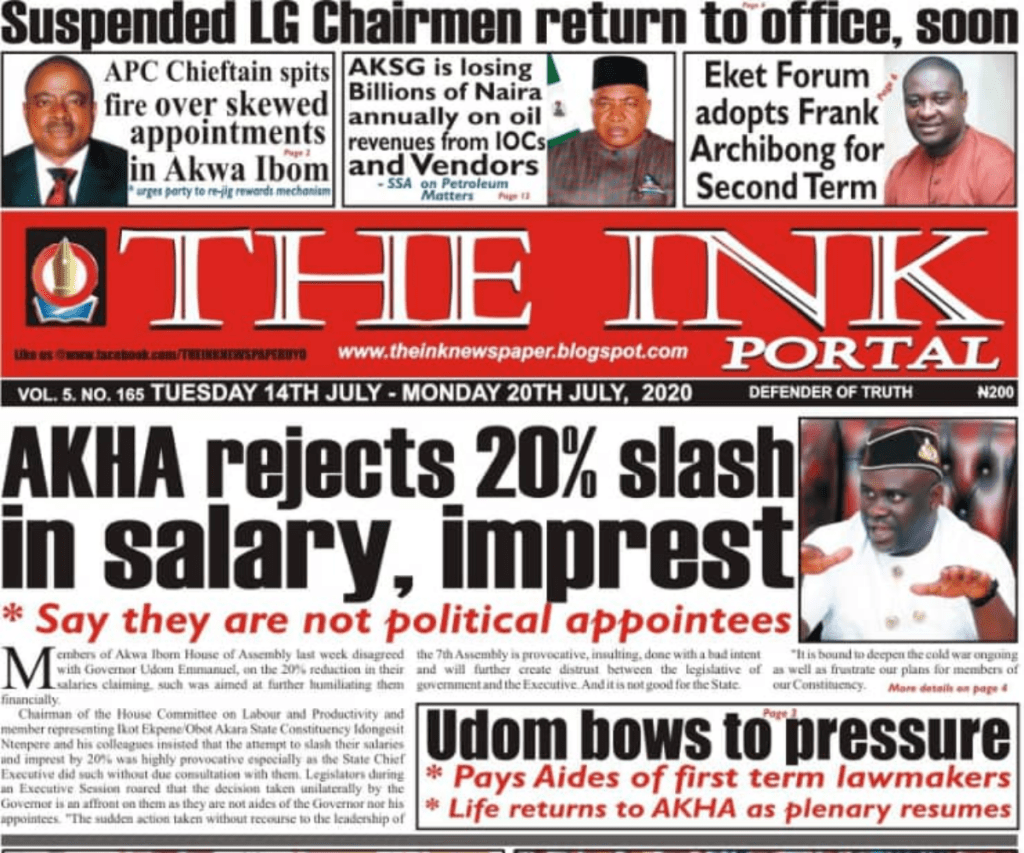 20200714 084632 0000 Top Akwa Ibom Newspaper Headlines For Today Tuesday July 14, 2020