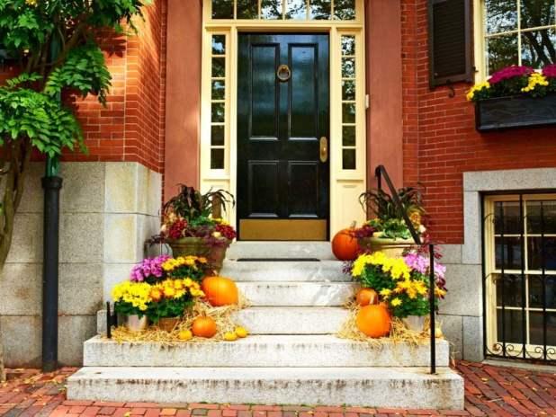 Pumpkins on porch during Halloween season