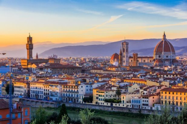 View of Florence after sunset from Piazzale Michelangelo, Florence, Italy