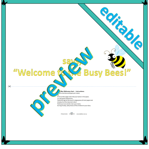 Busy bee welcome sign editable