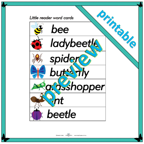 Busy Bees Little Readers word cards
