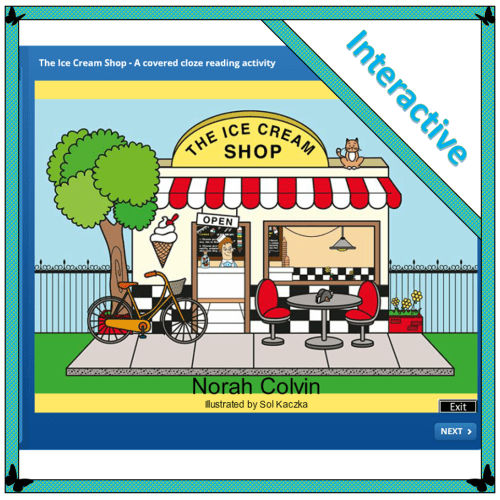 The ice cream shop an original readilearn story prepared as a covered cloze activity