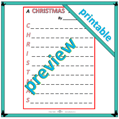A Christmas acrostic template