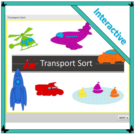 interactive lesson involving children sorting vehicles according to colour and type: Transport sort