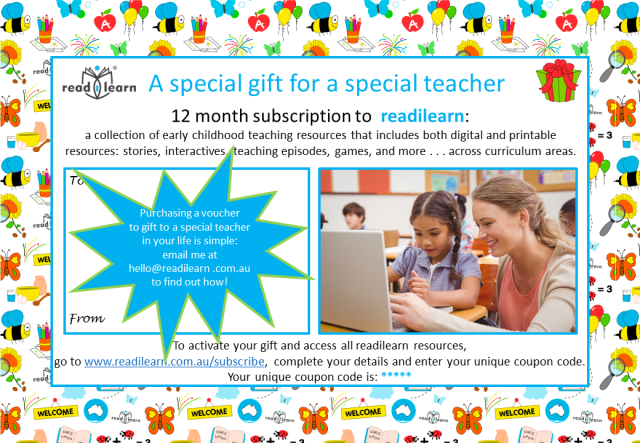 gift subscription to early childhood teaching resources for the first three years of school
