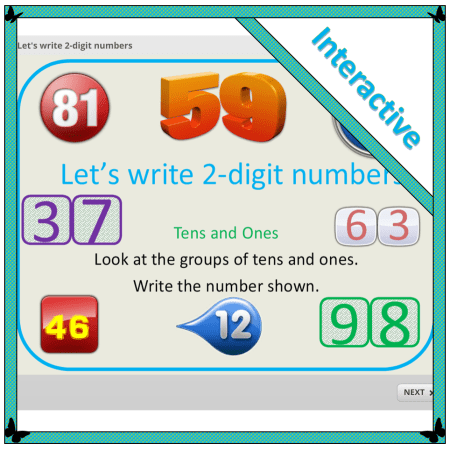 interactive resource for teaching how to write 2-digit numbers