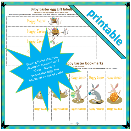 Bilby Easter gift labels and bookmarks