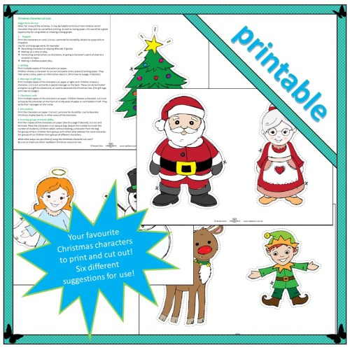 Christmas characters to cut out and use for storytelling or puppet shows