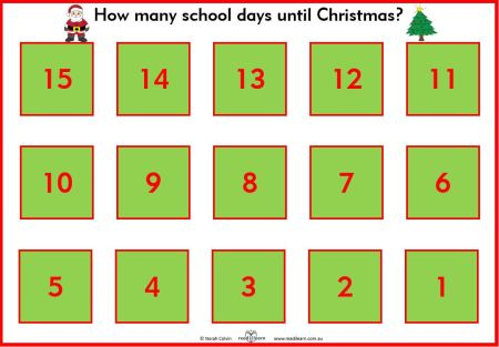a count down from 15 days until Christmas