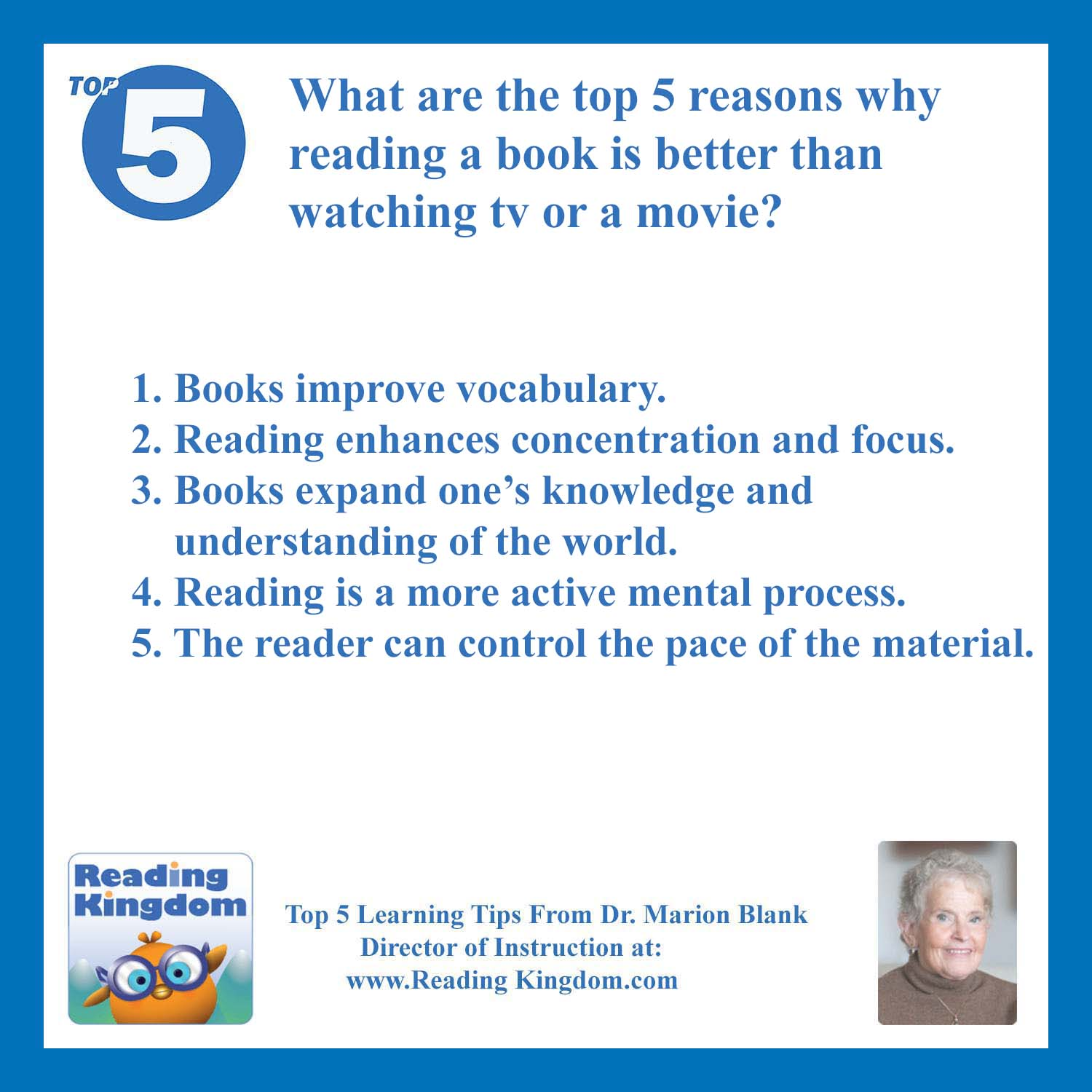 Ask Dr Blank What Are The Top 5 Ways Reading A Book Is
