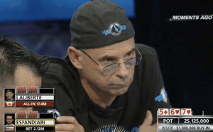 One Drop poker tournament: Laliberte staring at opponent after a bluff