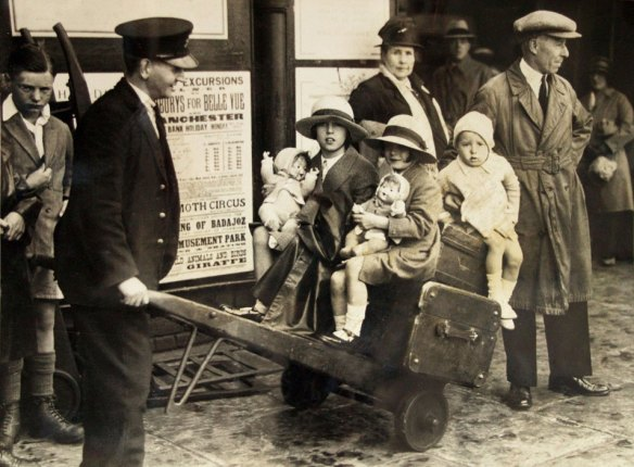 Mary age 6 (middle child) on the way to Bridlington by Sheffield LNER Station August Bank Holiday 1929. Picture from Sheffield Mail, (Newspaper House Fargate)
