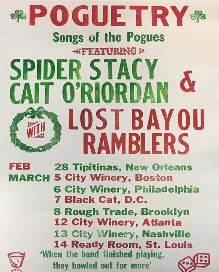 "The Pogues's Spider Stacy & Cait O'Riordan Announce More ""Poguetry"" Dates  with Lost Bayou Ramblers 