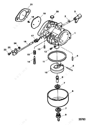 Mercury Force 50 HP 1998, Carburetor  parts catalog