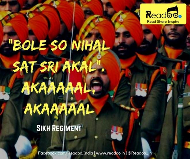 """Sikh Regiment : """"Bole So Nihal Sat Sri Akal"""". Akaaaaal, Akaaaaal"""