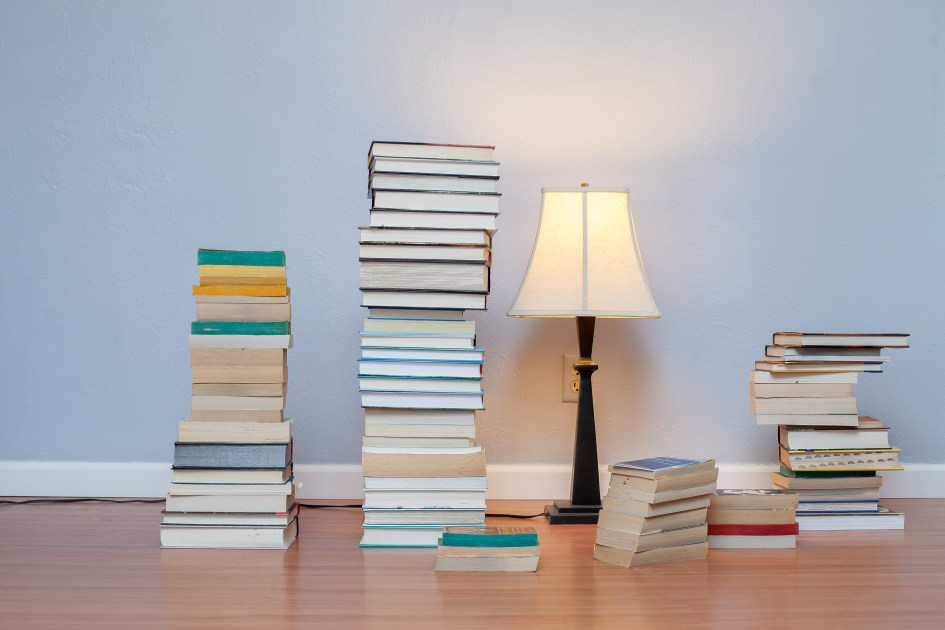 Read Remark book stacks with lamp